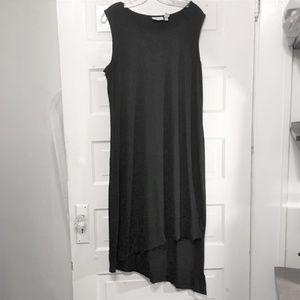 Chico's Black Midi Knit Dress Asymmetrical Hem 12